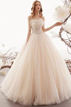 Vestido de novia Romántico Playa Cordón Apliques Natural tul