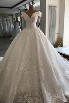 Vestido de novia Cordón Drapeado Otoño Reloj de Arena Capa de encaje