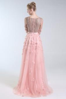 Vestido de fiesta Escote en V Elegante Corpiño Acentuado con Perla Natural