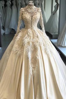 Vestido de novia Pura espalda Mangas Illusion Pera Escote con cuello Alto