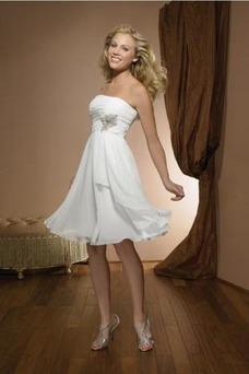 Vestido de novia Sin tirantes Corte-A Rectángulo Verano Gasa Marfil