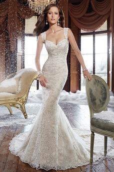 Vestido de novia Elegante Otoño Tiras anchas Encaje largo Sin mangas