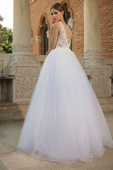 Vestido de novia Natural Encaje Espalda medio descubierto Playa Apliques