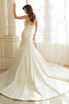 Vestido de novia Cola Catedral Escote Corazón Corte Sirena Cordón Sin mangas