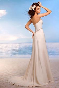 Vestido de novia sexy Natural Gasa Corte-A Espalda Descubierta Sin tirantes