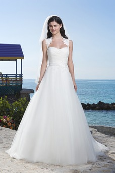 Vestido de novia Escote Corazón Fajas Sin mangas tul Corte-A Pura espalda
