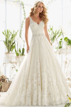 Vestido de novia Baja escote en V largo Formal Corpiño Con lentejuelas