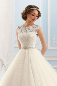 Vestido de novia Formal Cremallera Cristal Cinturón de cuentas Encaje