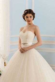 Vestido de novia Elegante Apliques Natural Sin mangas Encaje Espalda Descubierta