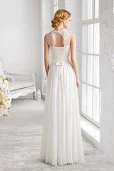 Vestido de novia Corte Recto Cola Barriba Verano Gasa Natural Fuera de casa