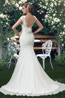 Vestido de novia Fajas Manga corta Otoño Espalda medio descubierto Cola Barriba
