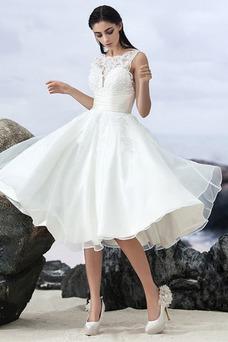 Vestido de novia Sin mangas Corte-A Natural Organza Volantes Adorno