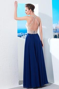 Vestido de noche Corte-A Abalorio Natural Escote halter Elegante Hasta el suelo