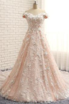 Vestido de novia Hasta el suelo Manga corta Escote con Hombros caídos