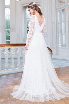 Vestido de novia Playa Manga larga Capa Multi Imperio Drapeado Cremallera