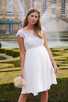 Vestido de novia Embarazadas Hasta la Rodilla Encaje Verano Manga tapada