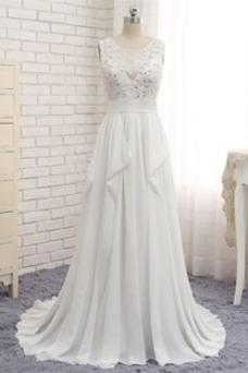 Vestido de novia Natural Drapeado Playa vendimia Escote redondo largo