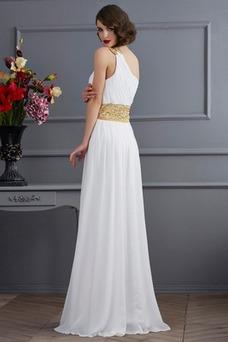 Vestido de fiesta Gasa Frontal Dividida Abalorio Corte-A Espalda medio descubierto
