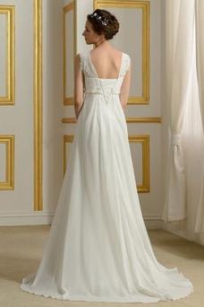 Vestido de novia Imperio primavera Abalorio Barco Embarazadas Gasa