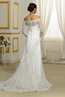 Vestido de novia Corte Sirena Apliques Falta Cola Barriba Mangas Illusion