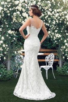 Vestido de novia Encaje Barco Natural Corte Recto Sin mangas Drapeado