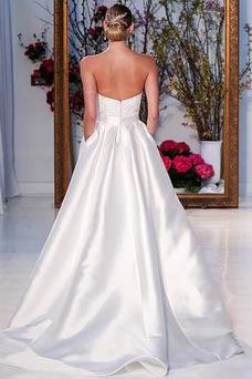 Vestido de novia Natural Asimètrico Dobladillos Sin tirantes Asimétrico Dobladillo