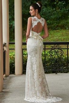 Vestido de novia Encaje Espalda medio descubierto Natural Fuera de casa