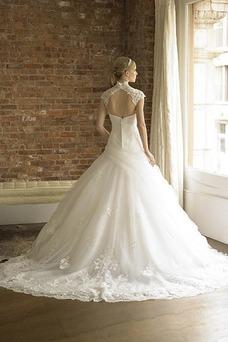Vestido de novia Encaje primavera Blanco Espalda con ojo de cerradura