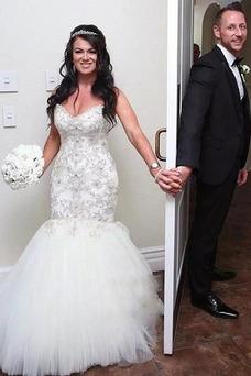 Vestido de novia tul Natural Sin mangas Abalorio Escote Corazón Corte Sirena