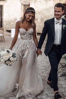 Vestido de novia Encaje Sin mangas Otoño Corte-A Escote Corazón Capa de encaje