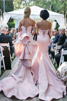 Vestido de dama de honor Drapeado largo Cordón Corte-A Falta Elegante