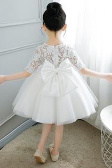 Vestido niña ceremonia Verano Lazos Cremallera Capa de encaje Hasta la Rodilla