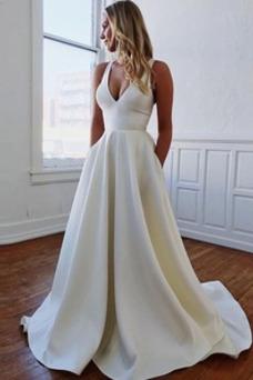 Vestido de novia Corte-A Verano Espalda Descubierta Cola Barriba Fuera de casa