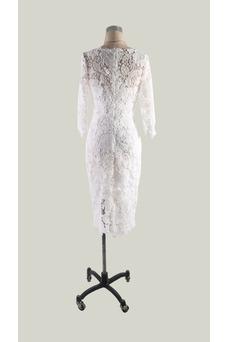 Vestido de cóctel Cremallera Corte Recto Elegante Encaje Hasta la Rodilla