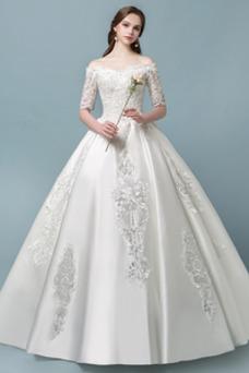 Vestido de novia Encaje Hasta el suelo Natural Satén Sala Escote con Hombros caídos
