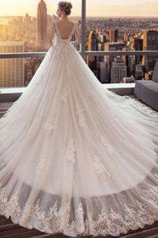 Vestido de novia Espalda Descubierta Cola Real Corte-A Capa de encaje