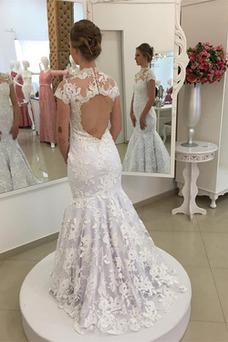 Vestido de novia Corte Sirena Espalda con ojo de cerradura Pera Manga corta