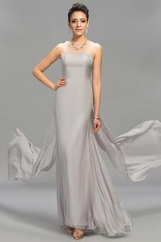 Vestido de noche Natural Corte-A Joya Hasta el suelo Gasa Falta