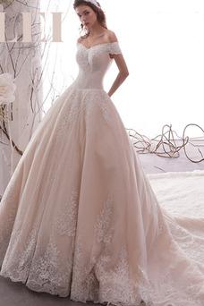 Vestido de novia Elegante Verano Satén Pera Fuera de casa Natural