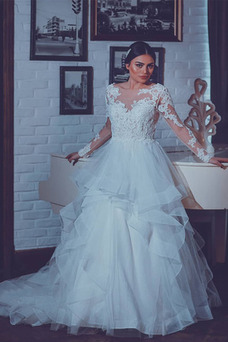 Vestido de novia Manga larga Espalda Descubierta Natural Botón Pera