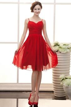 Vestido de dama de honor Sin mangas rubí Escote de Tirantes Espaguetis Volantes Adorno