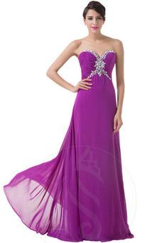 Vestido de noche Gasa Elegante Natural Espalda Descubierta Escote Corazón