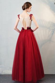 Vestido de fiesta primavera Sin mangas Natural Barco Manzana Abalorio