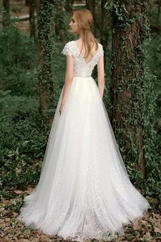 Vestido de novia Baja escote en V Natural Apliques Cremallera Escote en V