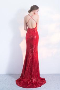 Vestido de fiesta Corpiño Con lentejuelas Corte Sirena Estrellado Natural