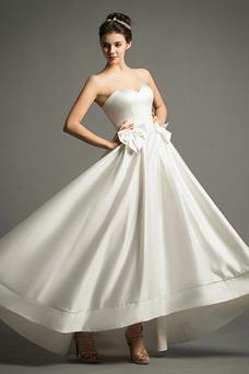 Vestido de novia Playa Cremallera Escote Corazón Lazos Natural Falta