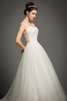 Vestido de novia Verano Escote con Hombros caídos Cola Corte Capa de encaje