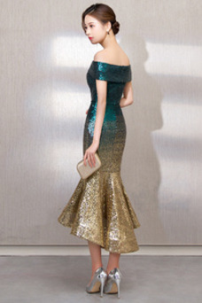 Vestido de fiesta Moderno Estrellado Escote con Hombros caídos Asimétrico Dobladillo