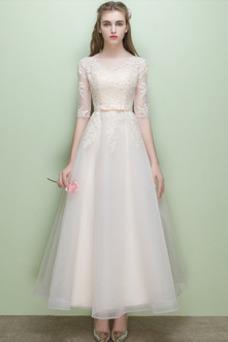 Vestido de novia Hasta la Tibia Barco Apliques Encaje Capa de encaje