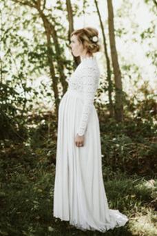 Vestido de novia Elegante Embarazadas Capa de encaje Escote con cuello Alto